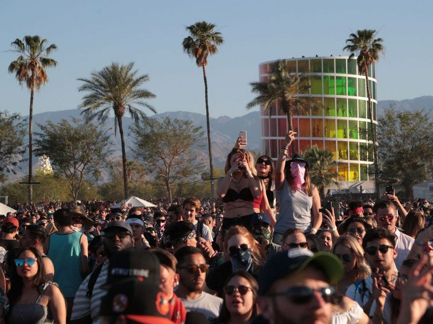 10. Coachella • Indio, California • The Coachella Valley Music and Arts Festival (Coachella for short) in Indio, Calif., is an annual, outdoor, two-weekend fest in April that features a wide variety of music, from electronic to indie to rock – plus art exhibits, too. Coachella launched in 1993 with Pearl Jam, and has since featured a long list of musical faves. On-site camping is a popular way to enjoy the tunes during this festival that kicks off the summer music season.