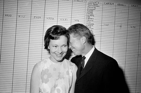 Georgia State Sen. Jimmy Carter hugs his wife, Rosalynn, at his Atlanta campaign headquarters Sept. 15, 1966 after making a strong showing in the primary election for the Democratic nomination for governor of Georgia.