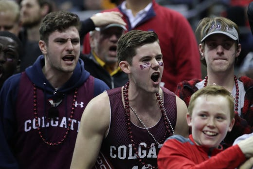 First round: Colgate Raiders fans react to a play during the game against the Tennessee Volunteers.
