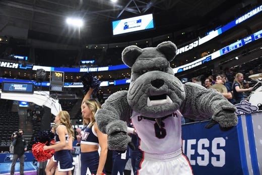 First round:The Gonzaga Bulldogs mascot performs during the game against the Fairleigh Dickinson Knights.