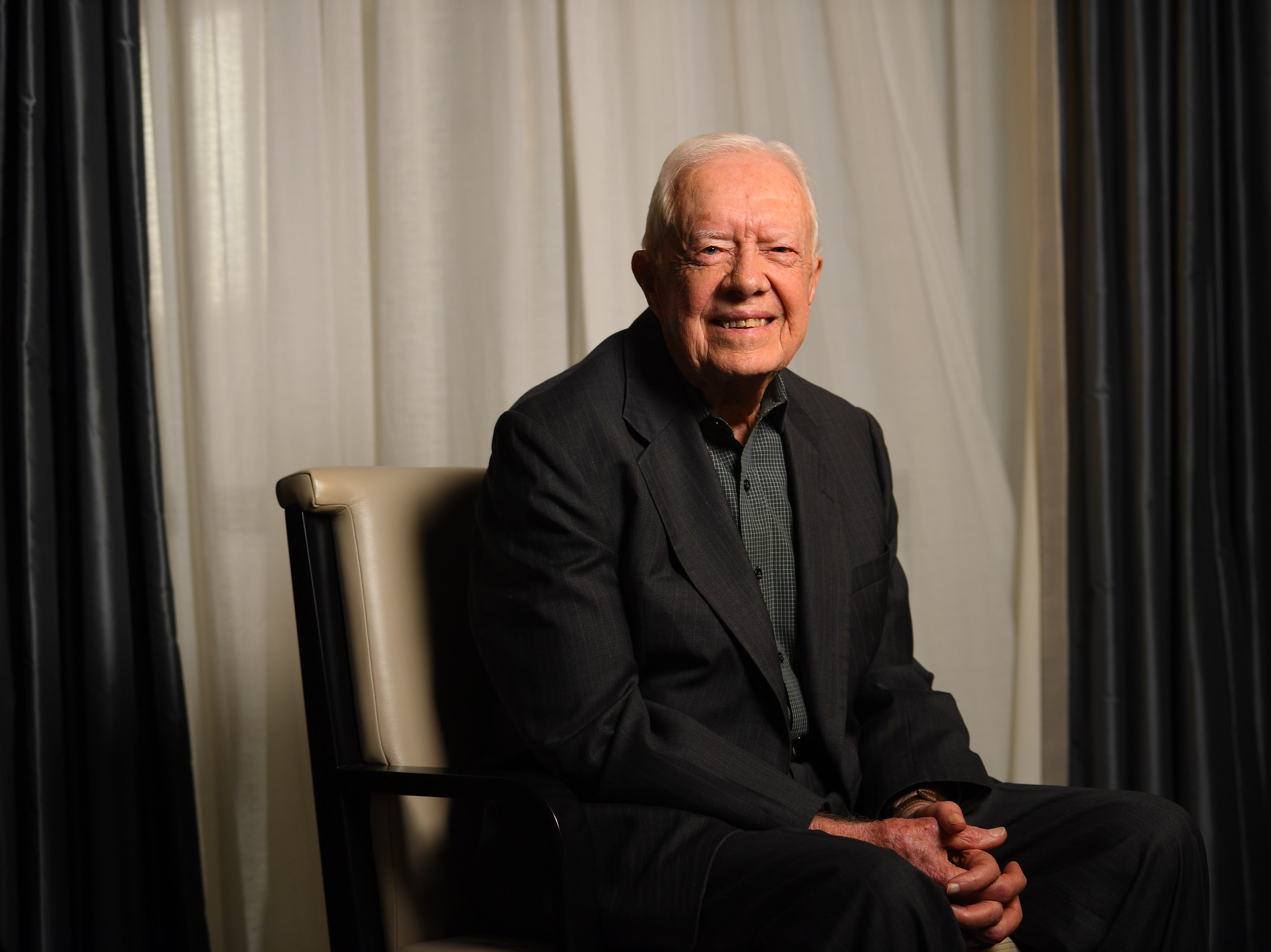 Jimmy Carter sits for a portrait at the Peninsula Hotel in New York on March 26, 2018.