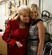 "Elisabeth Hasselbeck with her former ""View"" co-host Barbara Walters in 2010."