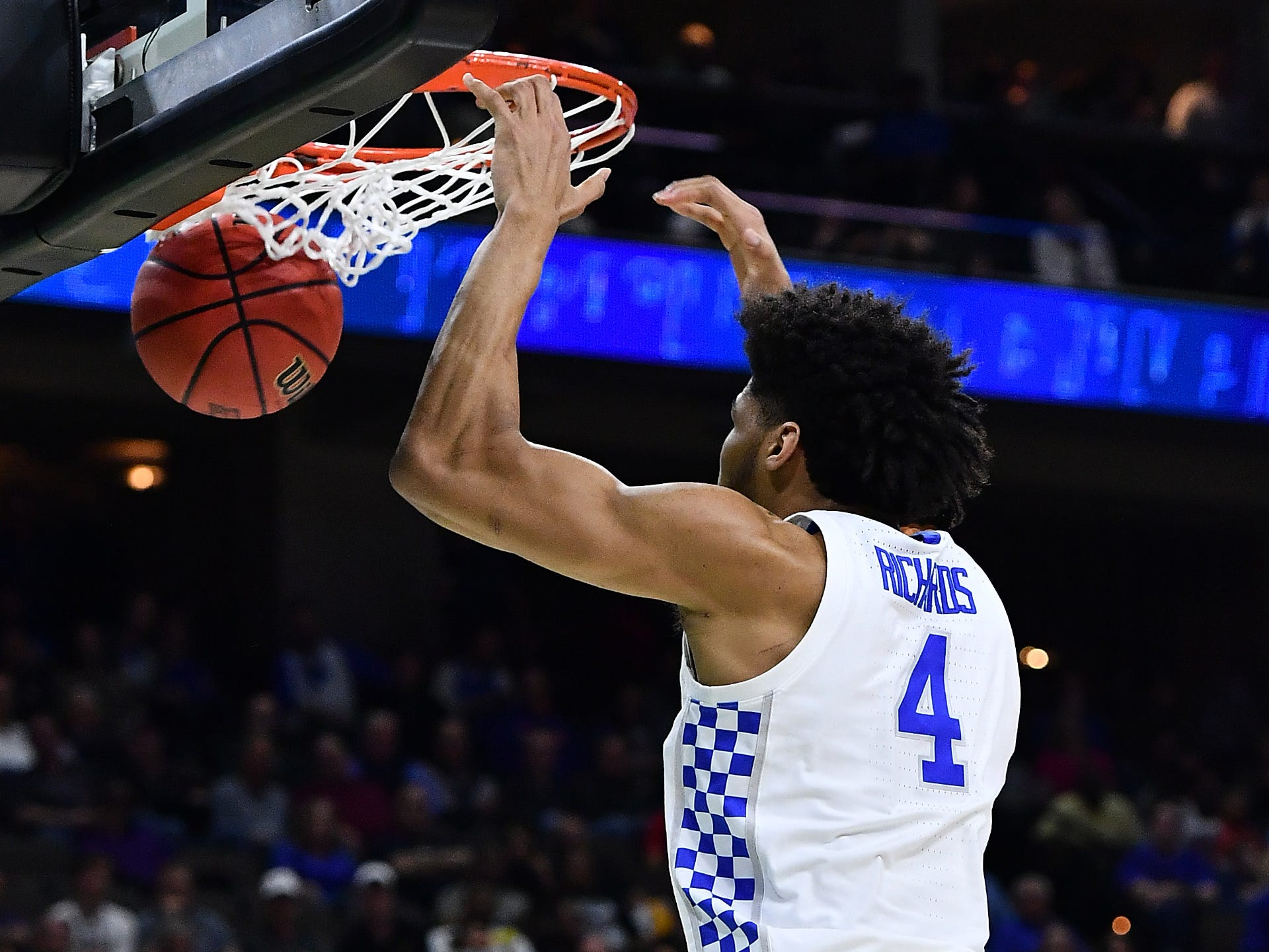 First round: Kentucky forward Nick Richards dunks the ball against Abilene Christian. The Wildcats rolled to a 35-point victory.
