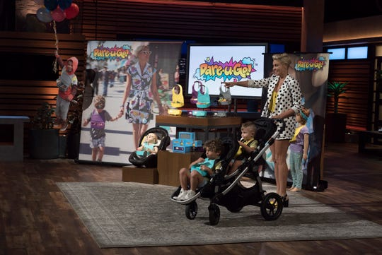 "Lisa D'Amato, a mom from Los Angeles, pitches her clever twist on a traditional children's product that is designed to help moms on the go on ABC's ""Shark Tank."""