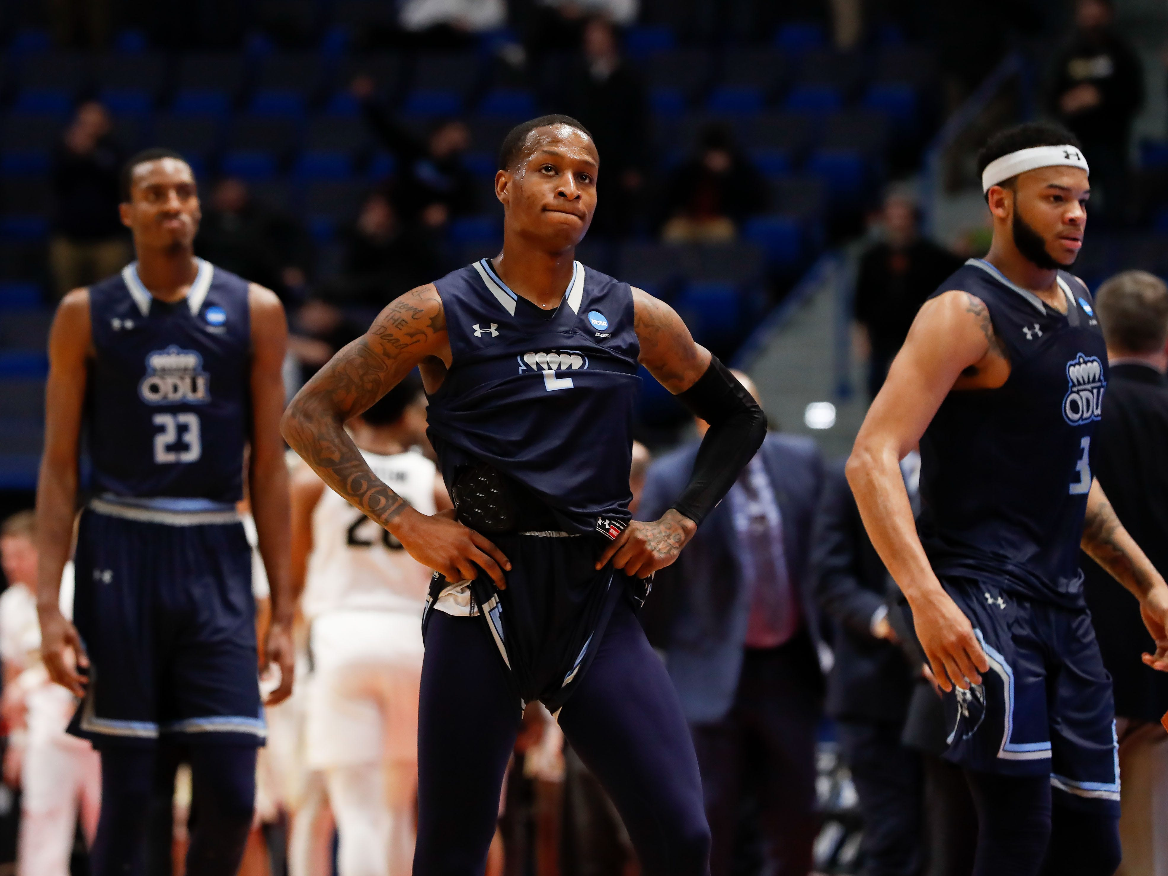 First round: No. 14 Old Dominion loses to No. 3 Purdue, 61-48.