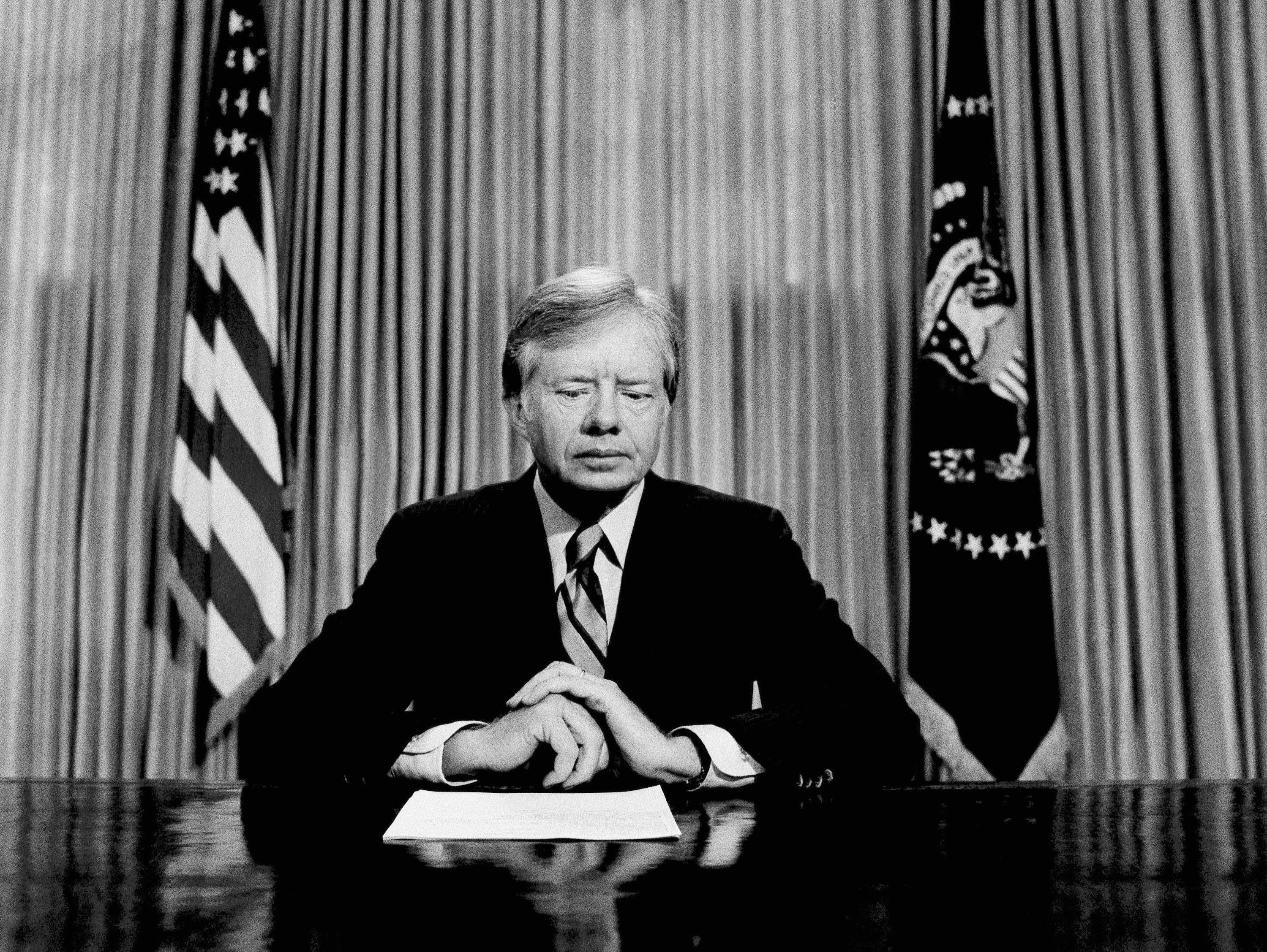President Carter prepares to make a national television address from the Oval Office at the White House in Washington, on the failed mission to rescue the Iran hostages on April 25, 1980.