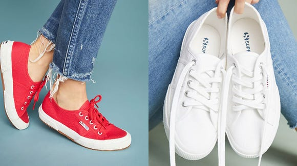 These sneakers come in eight different colors, including classic red and white.