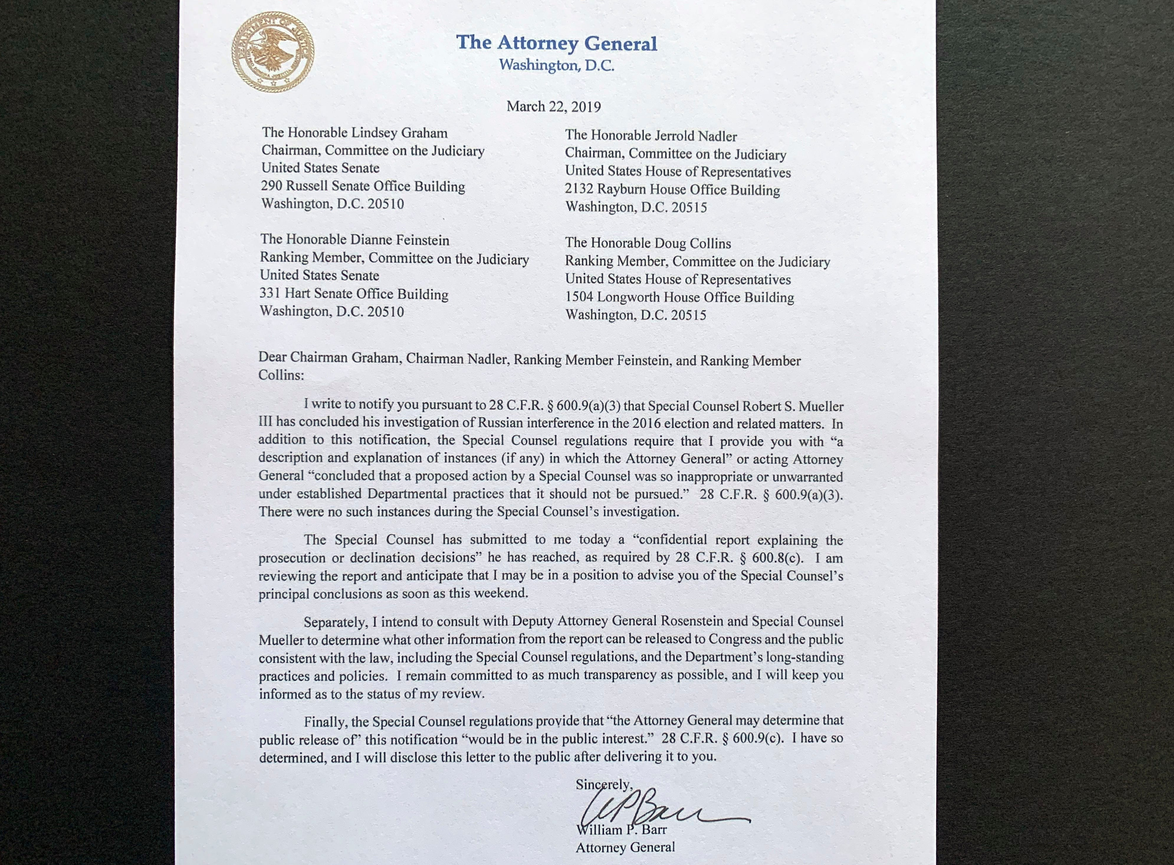 A copy of a letter from Attorney General William Barr advising Congress that Special Counsel Robert Mueller has concluded his investigation, is shown Friday, March 22, 2019 in Washington. Robert Mueller turned over his long-awaited final report on the contentious Russia investigation that has cast a dark shadow over Donald Trump's presidency, entangled Trump's family and resulted in criminal charges against some of the president's closest associates.