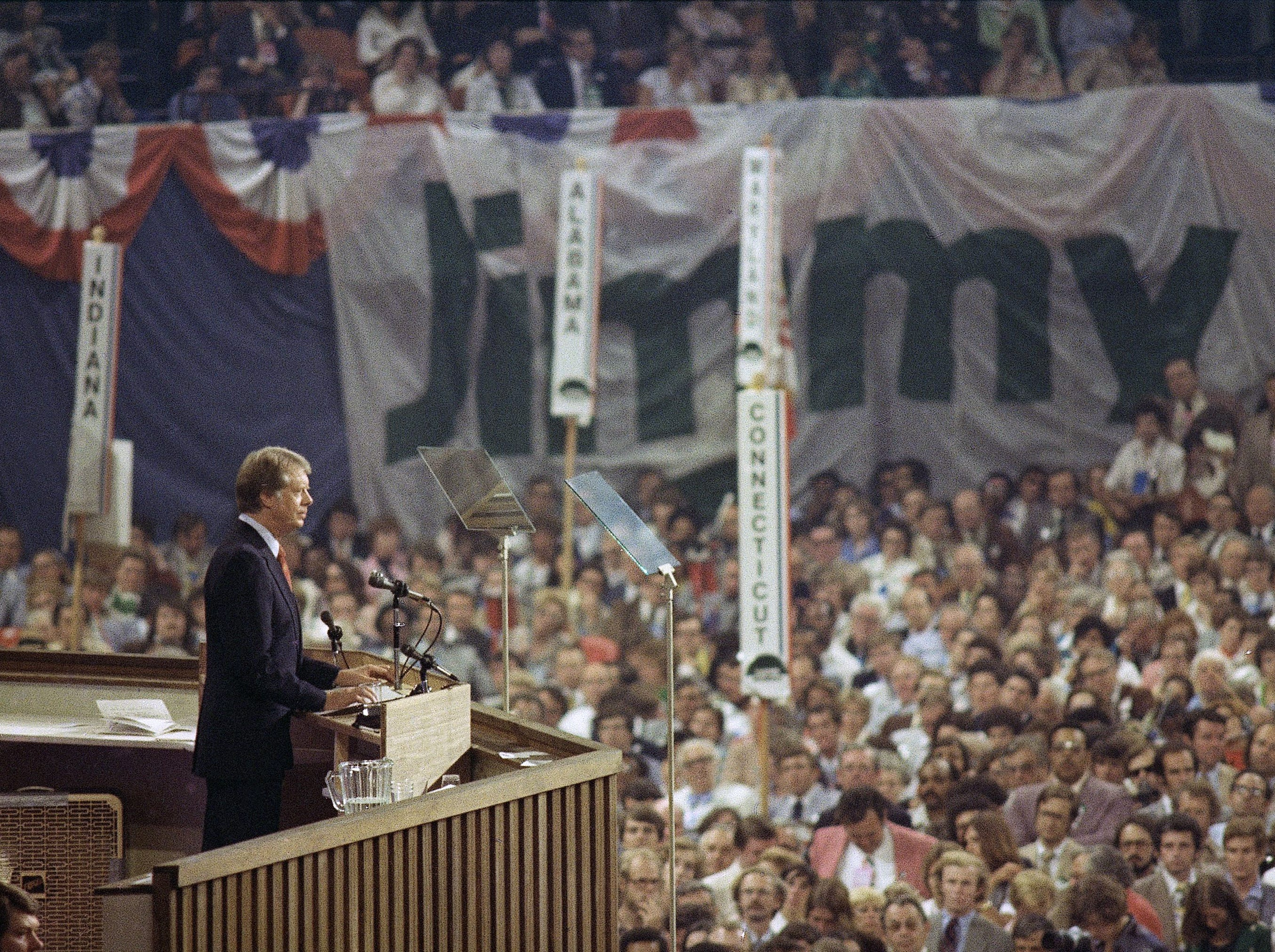 Jimmy Carter speaks on the final night of the Democratic National Convention at Madison Square Garden in New York  July 15, 1976.