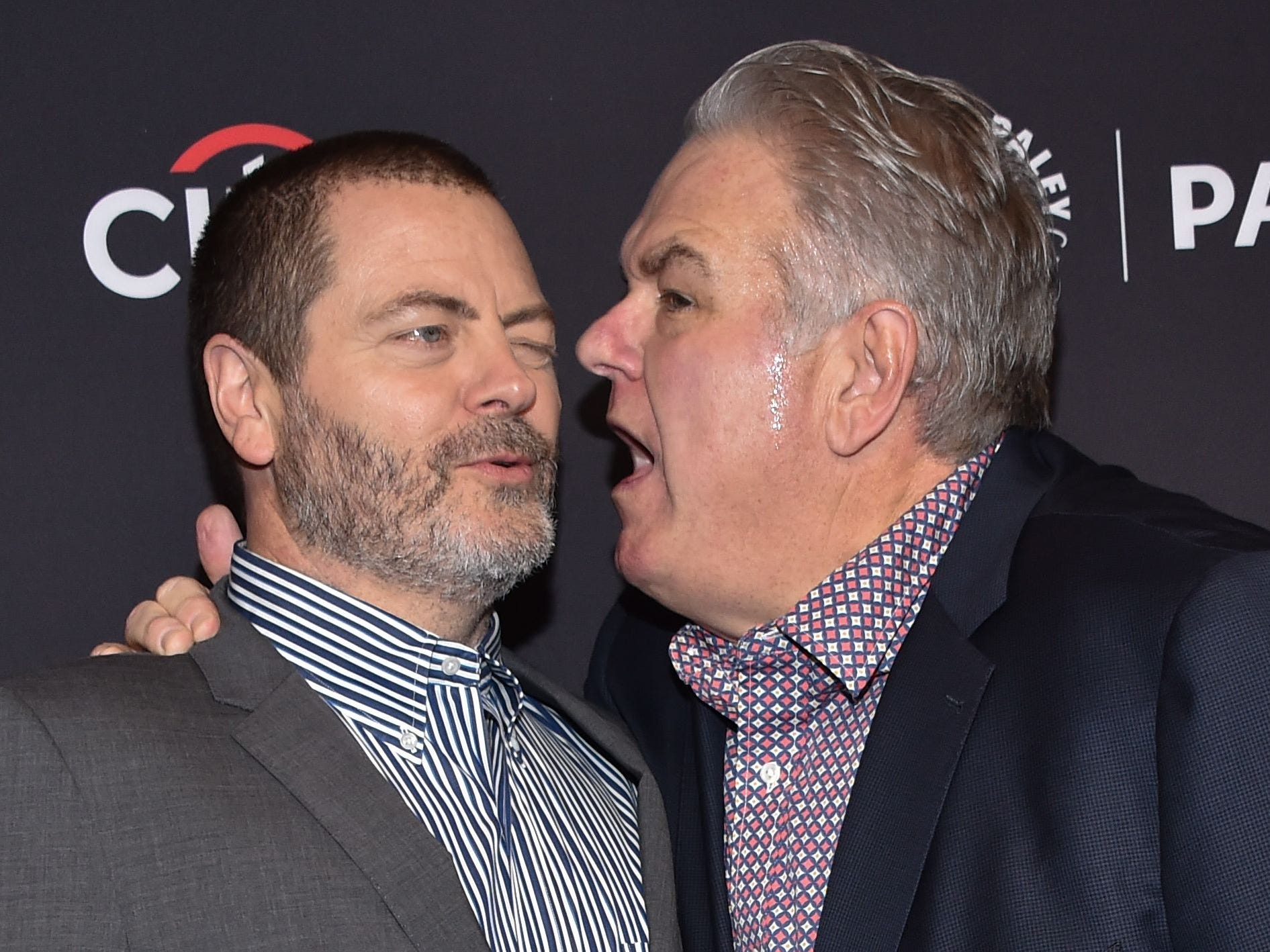 "But no ""Parks and Rec"" reunion would  be complete without Ron Swanson. Here, Nick Offerman, left, gets an earful from co-star Jim O'Heir, who played Jerry Gergich."