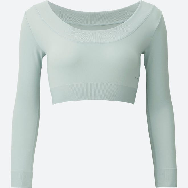 A light gray crop top ($19.90) from Alexander Wang's latest Uniqlo collection.