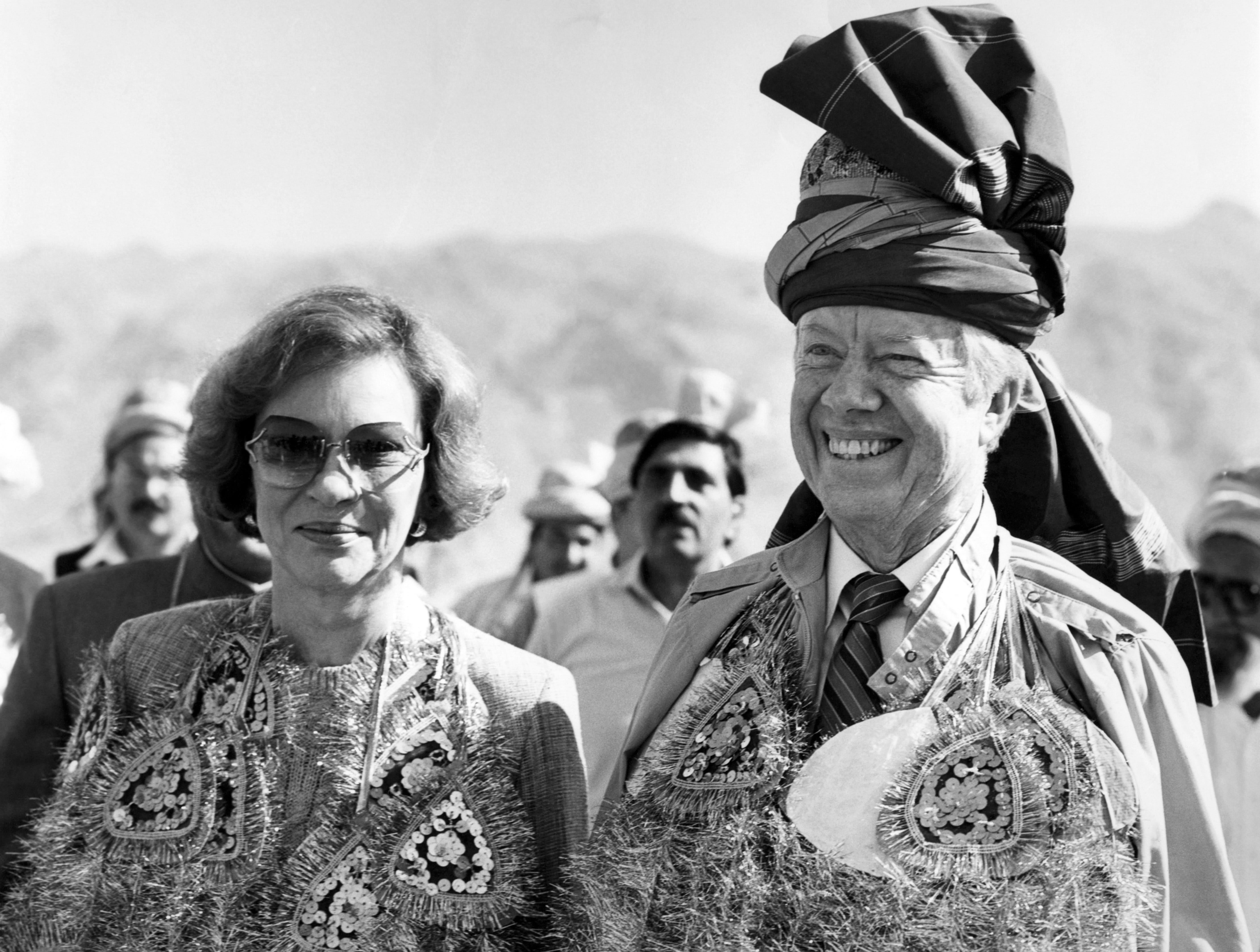 Jimmy Carter and his wife Rosalynn visit the Pakistan-Afghanistan border at Michini Point on Khyber Pass, Pakistan on Nov. 03,  1986.