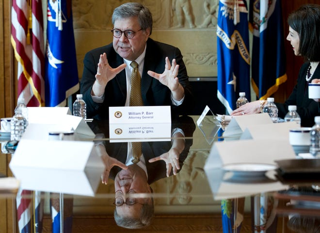 Attorney General William Barr speaks in a roundtable to address elder financial exploitation, at Department of Justice in Washington, Thursday, March 7, 2019.