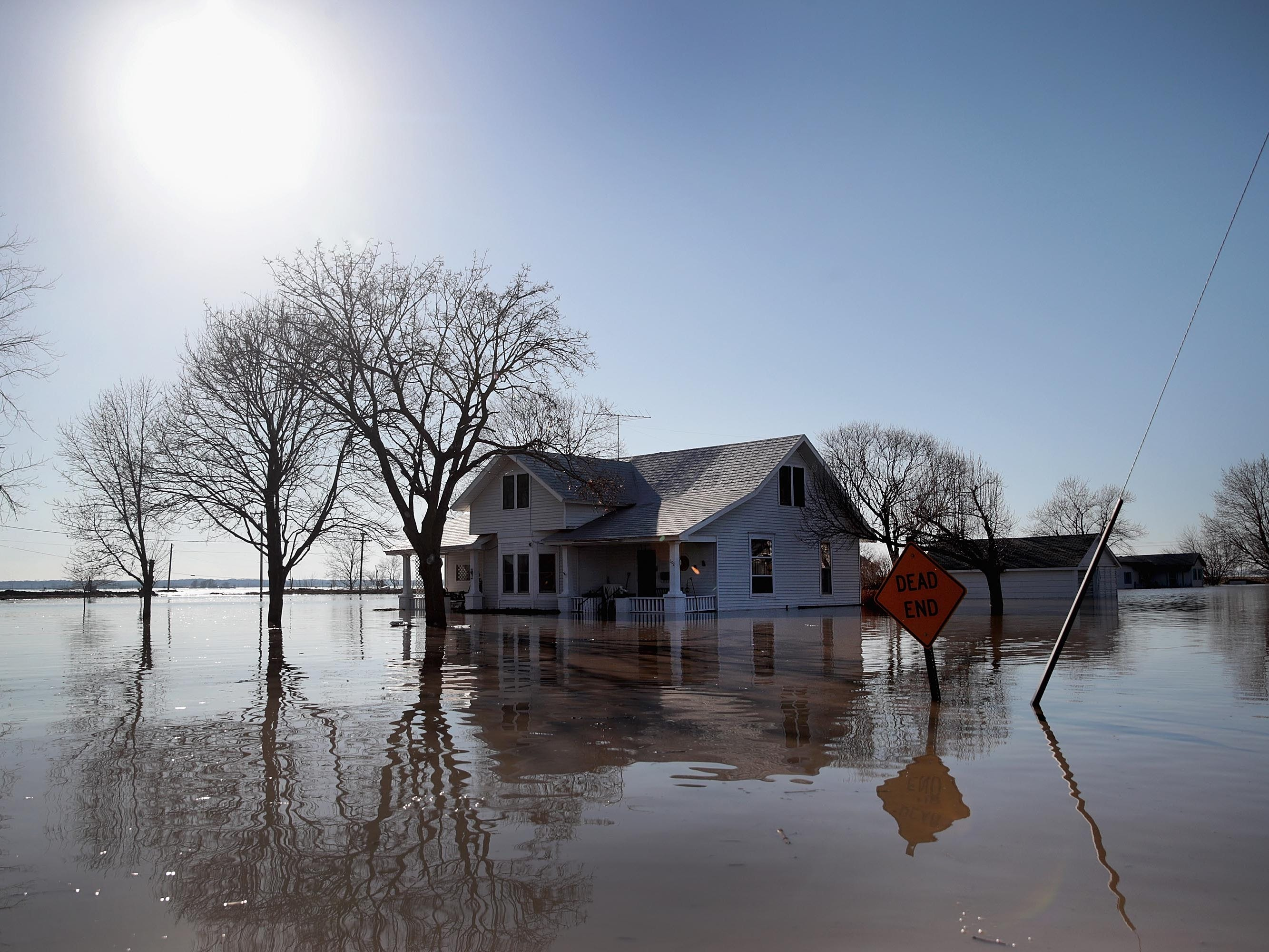 A home is surrounded by floodwater on March 21, 2019 in Craig, Missouri.