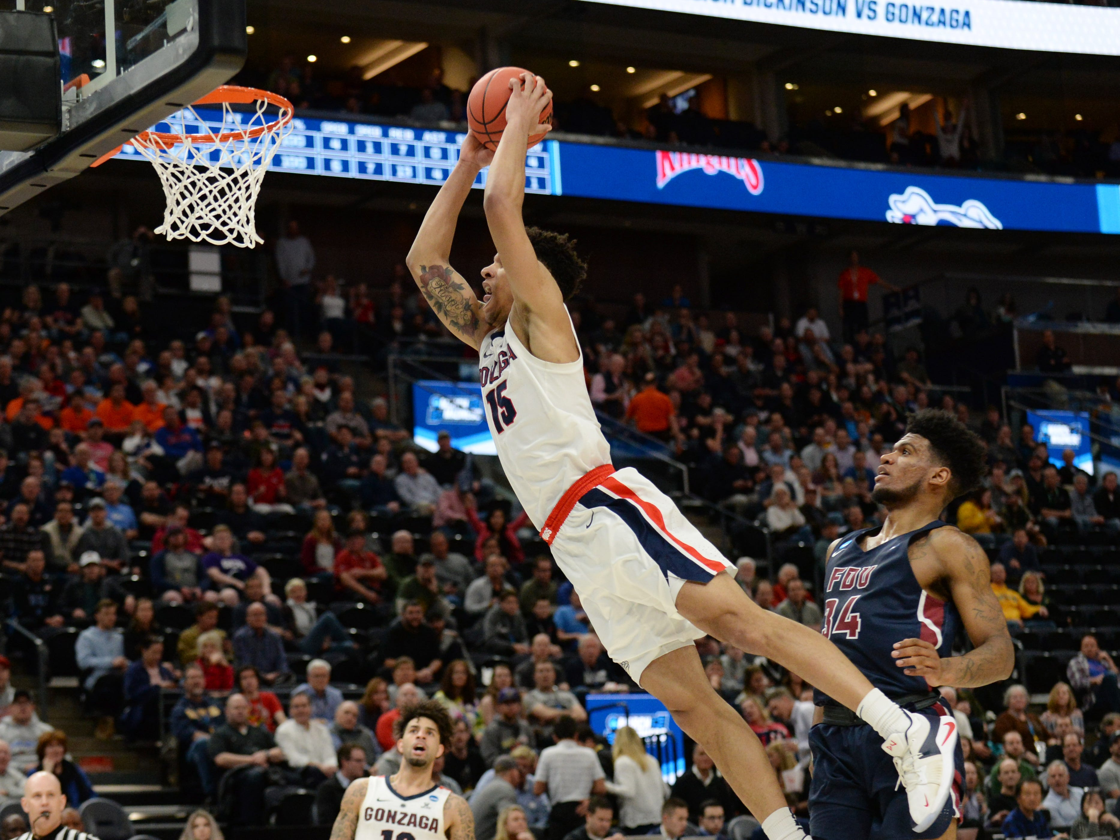 First round: Gonzaga forward Brandon Clarke dunks the ball against Fairleigh Dickinson.