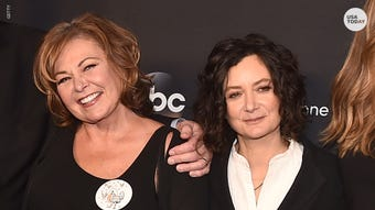 """Roseanne Barr has added Sara Gilbert, her TV daughter, to the list of reasons why she says the show """"Roseanne"""" was cancelled."""