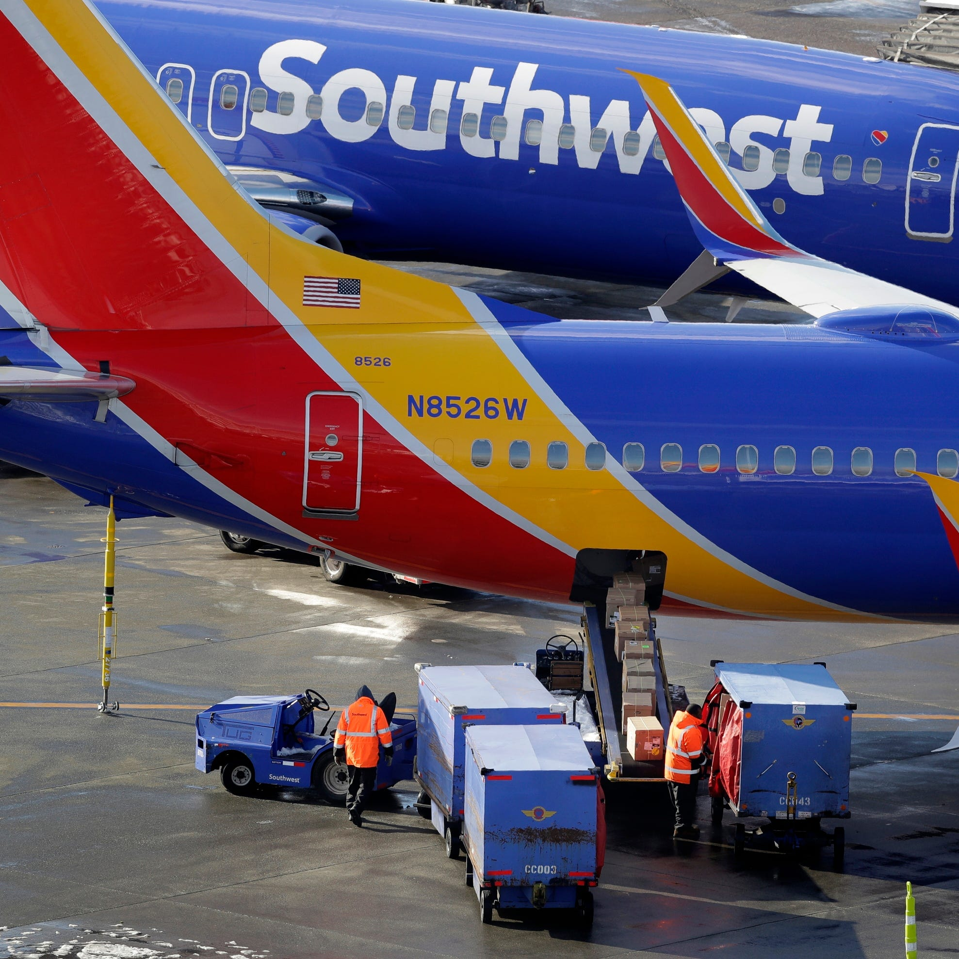 Southwest Airlines planes are loaded at Seattle-Tacoma International Airport on Feb. 5, 2019.