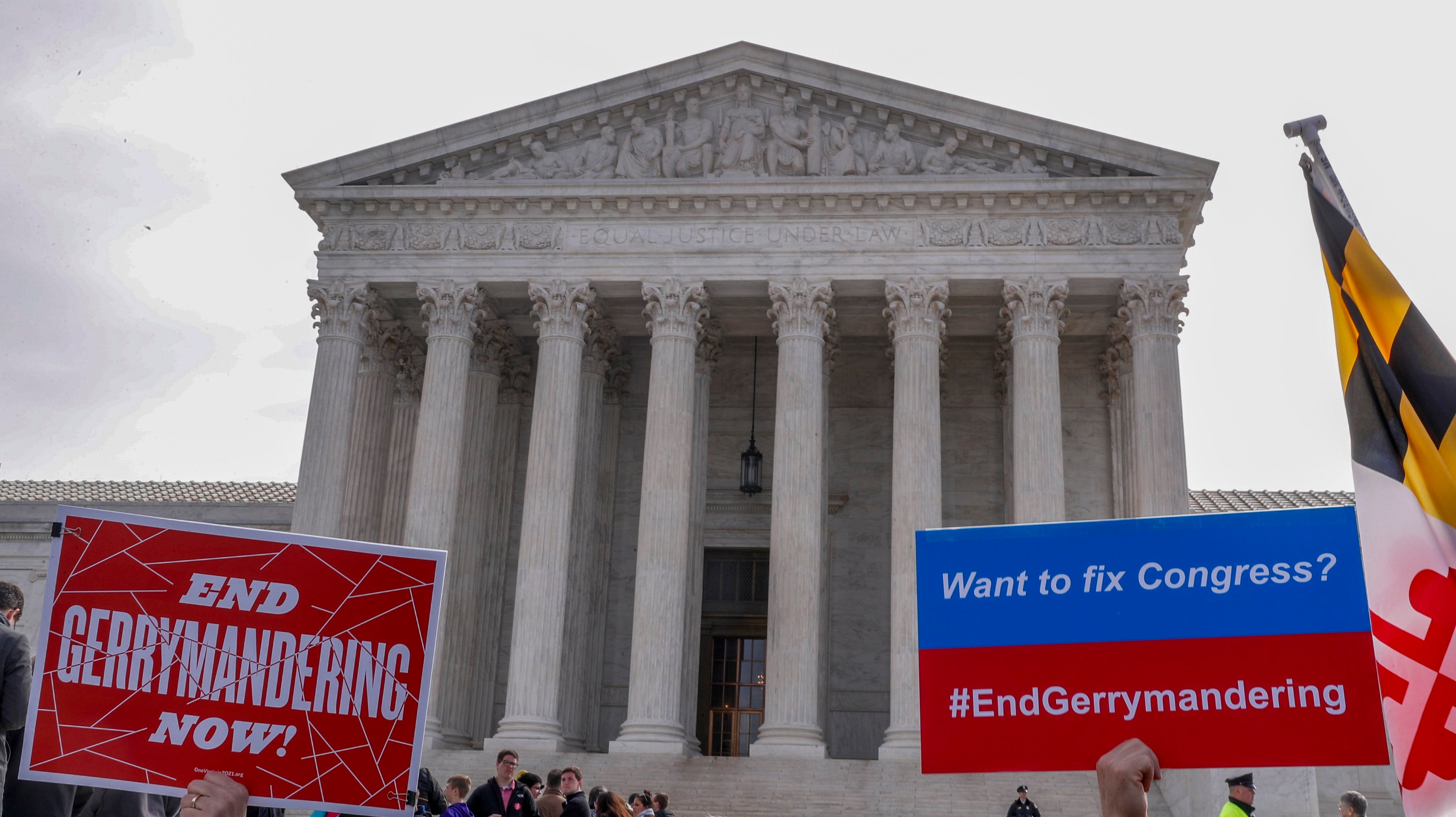 Protesters outside the Supreme Court in 2018 failed to convince the justices to end partisan gerrymandering, but the issue is back.