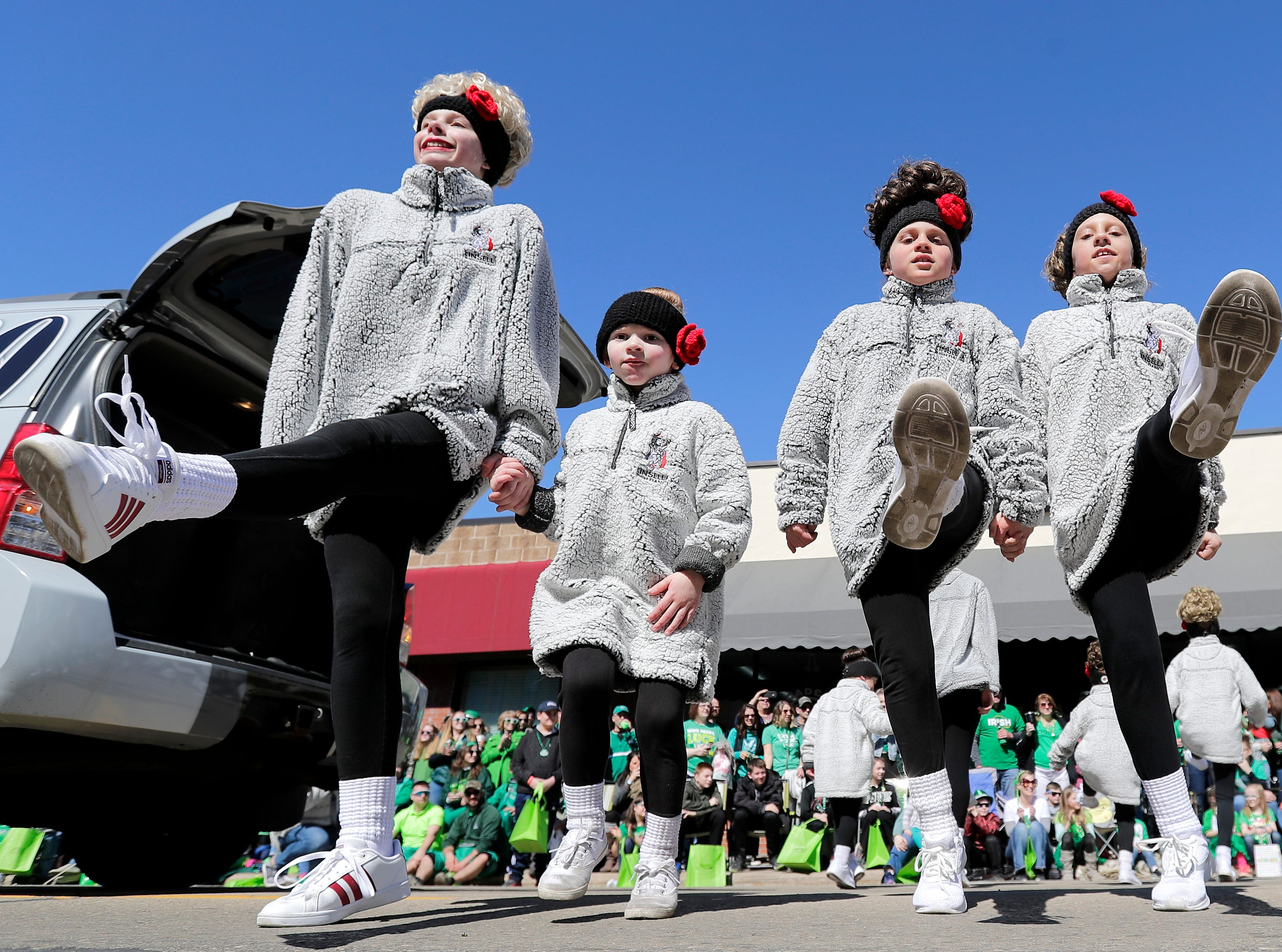 Members of Kinsella Irish Dance troupe perform during the New Dublin St. Patrick's Day Grand Parade on Saturday, March 23, 2019, in New London, Wis.Wm. Glasheen/USA TODAY NETWORK-Wisconsin.