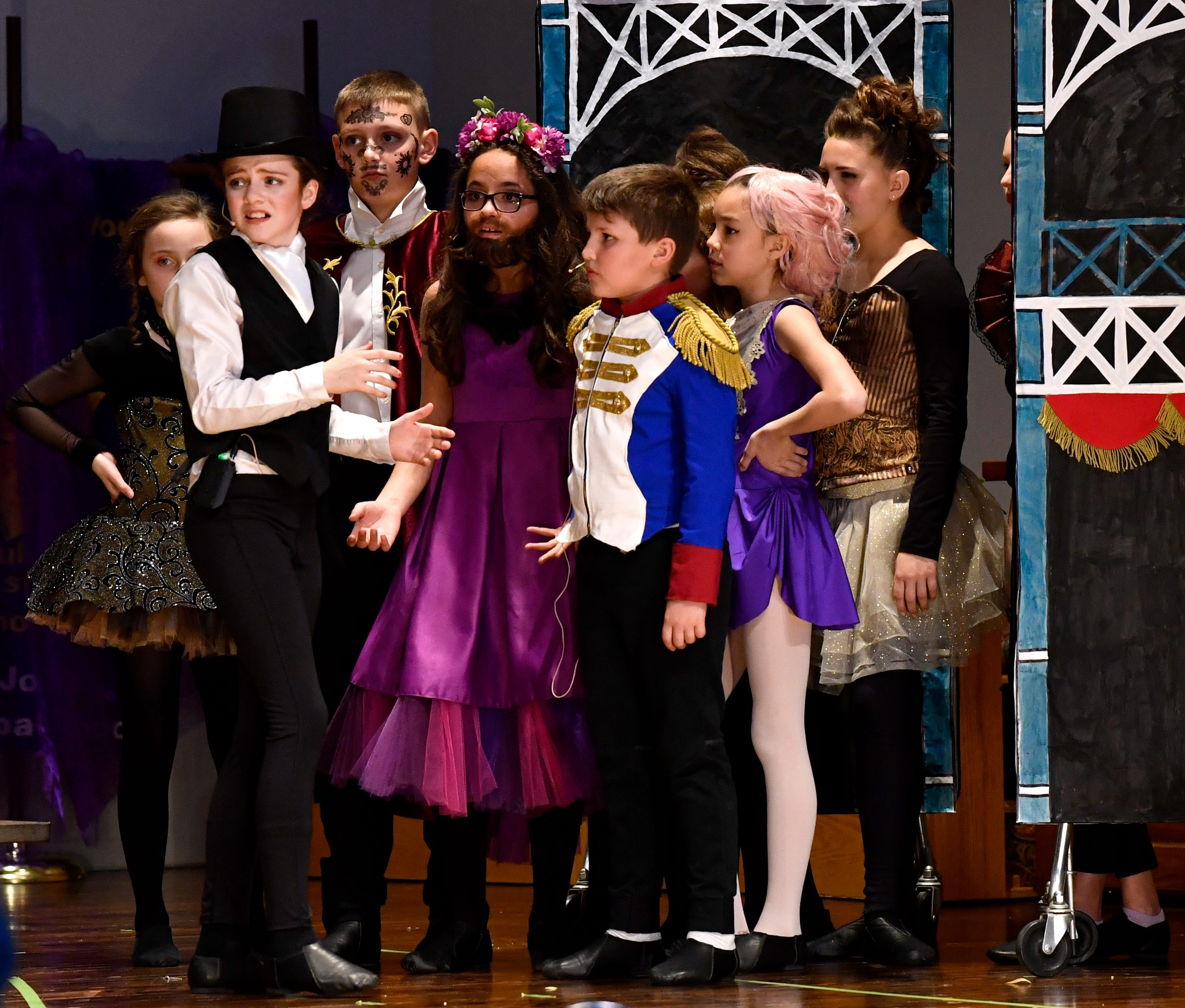 """Cast members rehearse Friday for the St. John's Episcopal School production of """"The Greatest Showman."""""""