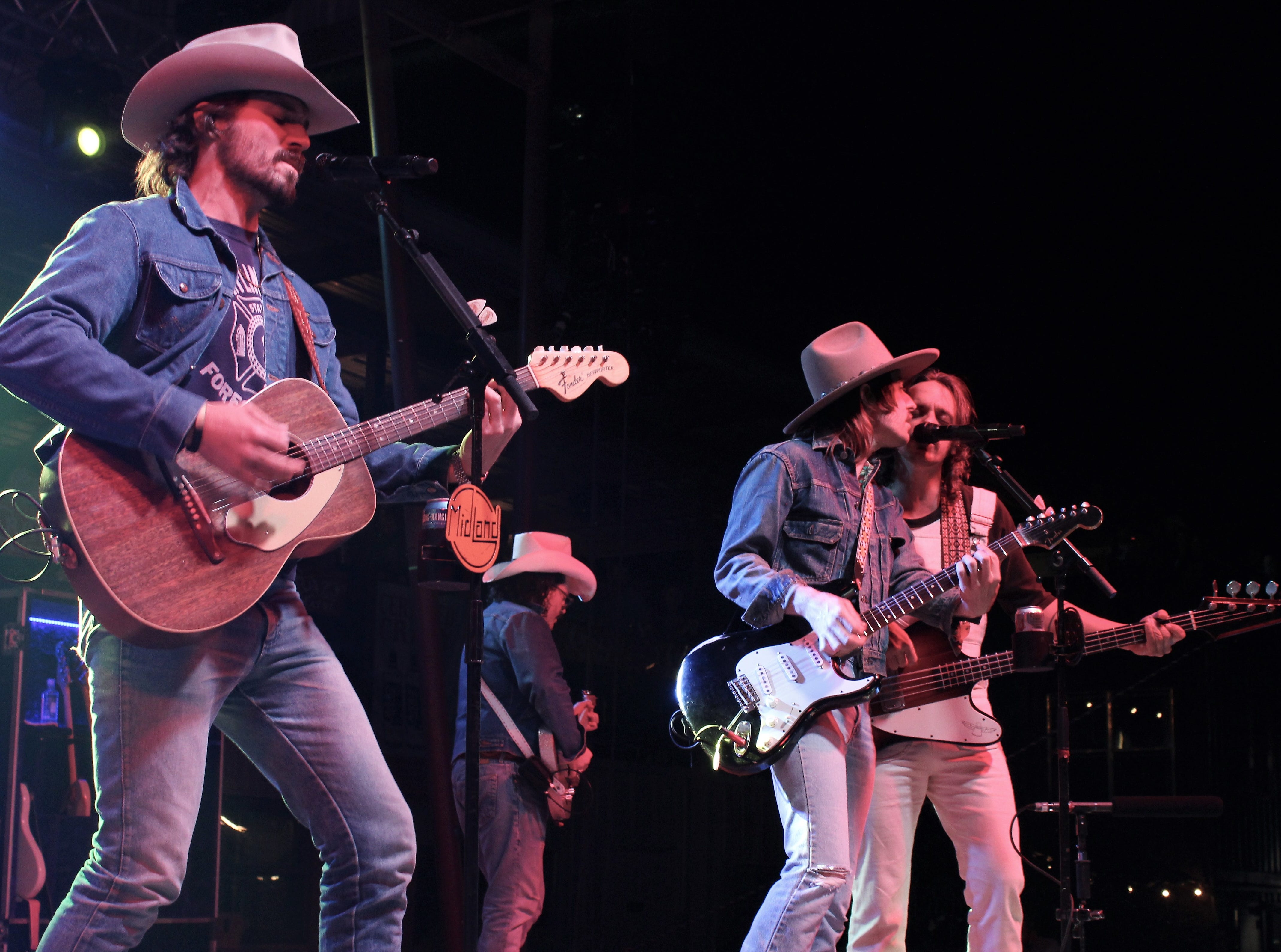 From left, Mark Wystrach, Jess Carson and Cam Duddy show that three lead singers can be better than one during Midland's closing set Friday March 22, 2019, at the Outlaws & Legends Music Festival.