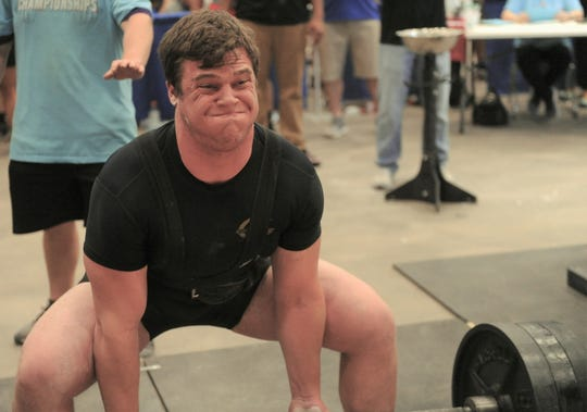 Comanche's Kendal Beck tries to lift a Division III state record 655 pounds in the deadlift in the 275-pound weight class at the Texas High School Powerlifting Association state meet Saturday, March 23, 2019, at the Taylor County Expo Center. While the senior didn't get the state record, he did win his weight class for his first state title.