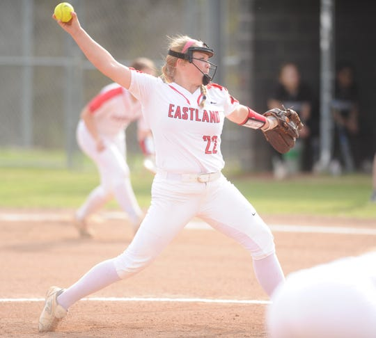 Eastland pitcher Bryanna Foster delivers a pitch against Comanche in a District 6-3A softball game Friday, March 22, 2019, in Eastland.