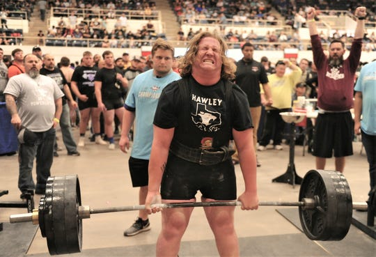 Hawley's Kolter Willeford lifts 525 pounds in the deadlift in the Division III 275-pound weight class. He finished third overall with 1,625 pounds at the Texas High School Powerlifting Association state meet Saturday, March 23, 2019, at the Taylor County Expo Center.