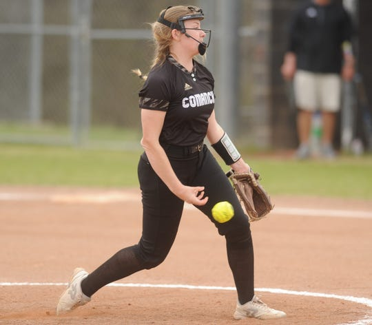 Comanche's Chloe Williams delivers a pitch against Eastland in a District 6-3A softball game Friday, March 22, 2019, in Eastland.