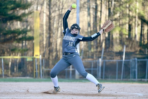 North Buncombe pitcher Caitlin Griffin winds up against Reynolds during their game at Reynolds High School on March 22, 2019. North Buncombe defeated Reynolds 15-0.
