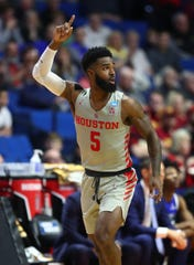 Mar 22, 2019; Tulsa, OK, USA; Houston Cougars guard Corey Davis Jr. (5) reacts after a score against the Georgia State Panthers during the first half in the first round of the 2019 NCAA Tournament at BOK Center. Mandatory Credit: Mark J. Rebilas-USA TODAY Sports