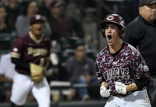 Calallen's Brandon Maldonado celebrates his run during the District 29-5A baseball game against Tuloso-Midway, Friday, March 22, 2019, at Whataburger Field. Calallen won, 3-1.