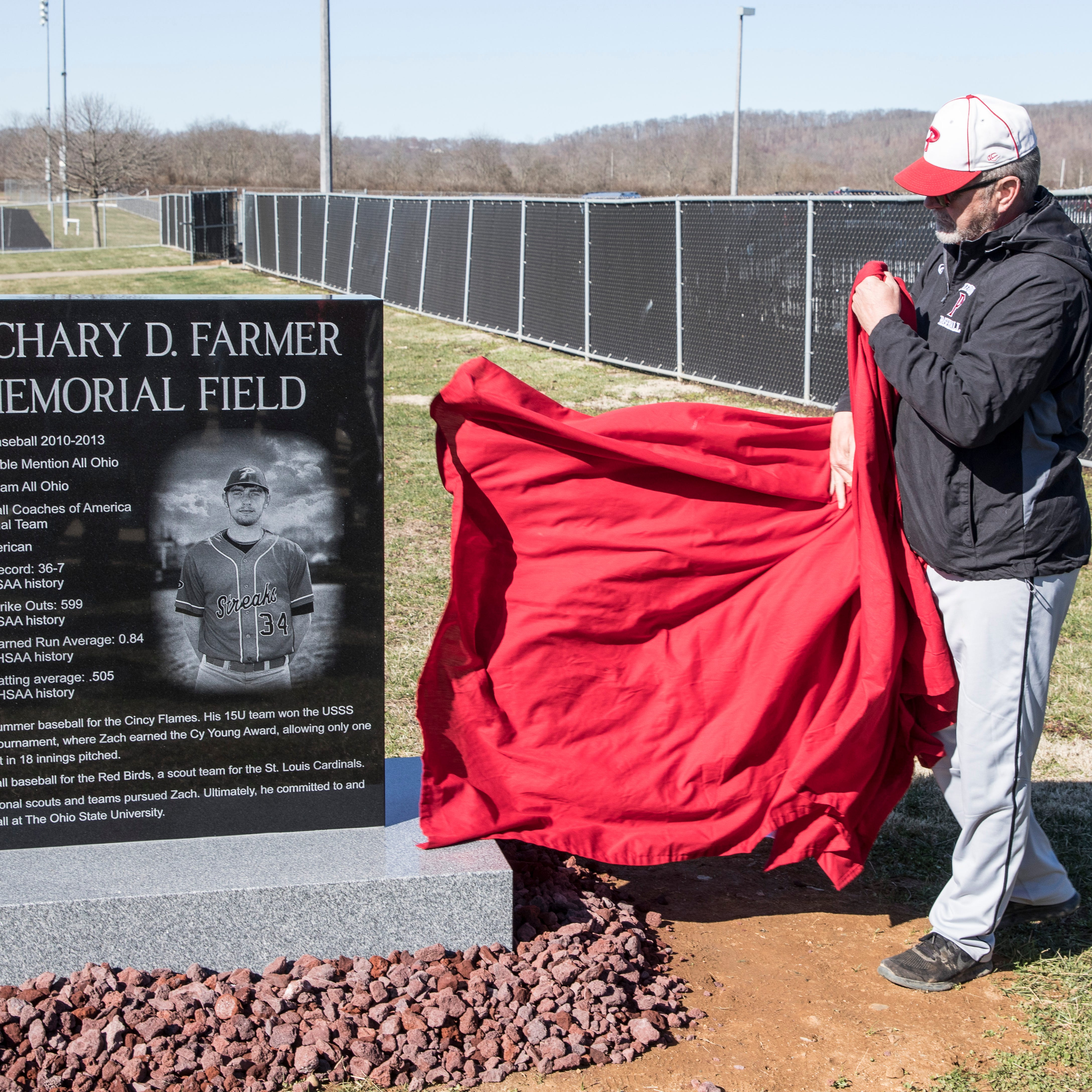 Former Redstreaks, Ohio State baseball player Zach Farmer honored with monument at Piketon