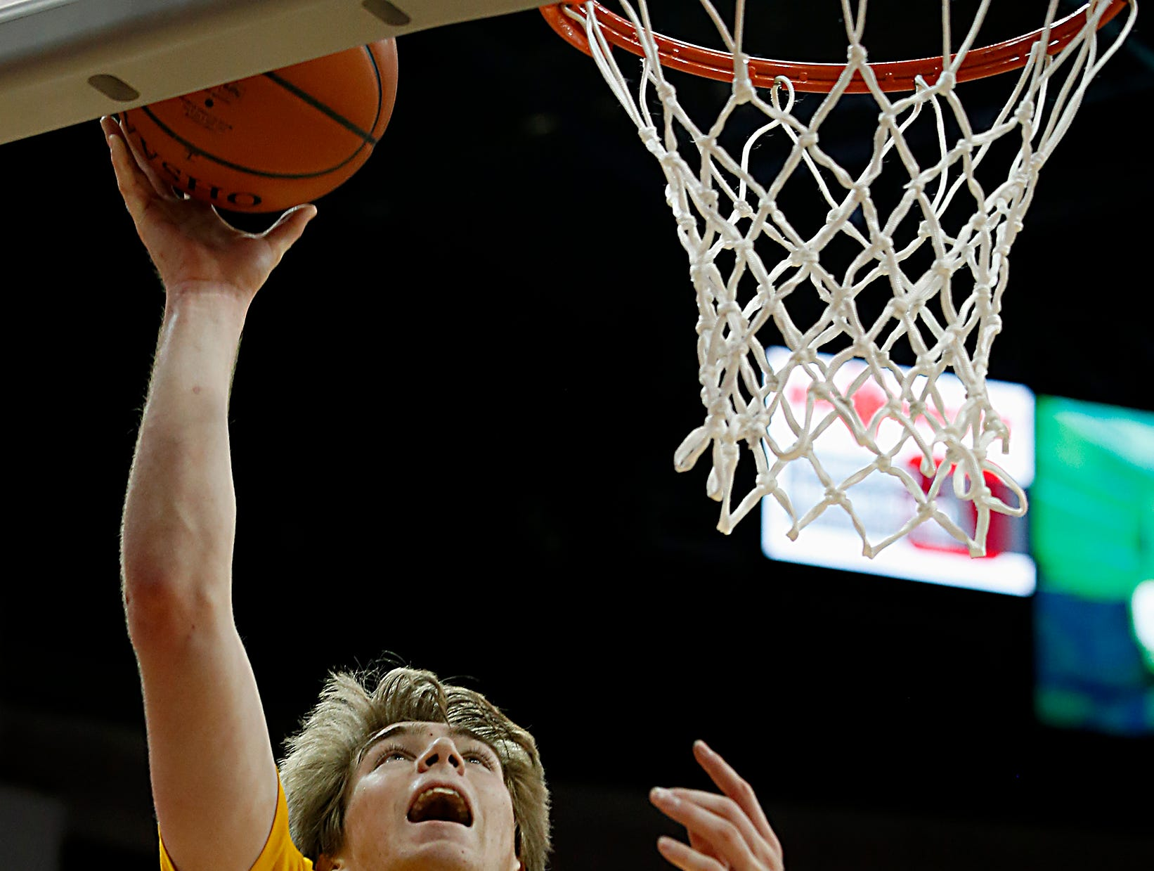 Moeller forward Alec Pfriem drops in two against St. Edward during their Division I semifinal at the Schottenstein Center in Columbus Friday, March 22, 2019.