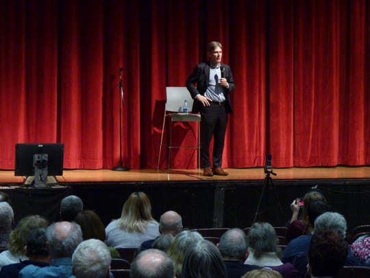 Rep.  Tom Malinowski speaks at  his first official town hall held on Saturday, March 23, 2019, at Union County College in Cranford. More than 100 people attended.