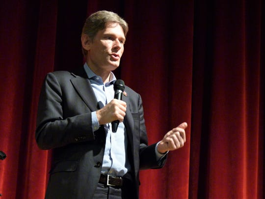 Rep.  Tom Malinowski speaks at  his first official town hall held on Saturday, March 23, 2019, at Union County College in Cranford.