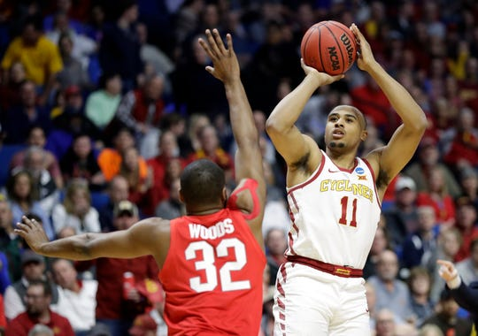Iowa State's Talen Horton-Tucker (11) shoots over Ohio State's Keyshawn Woods (32) during the first half of a first round men's college basketball game in the NCAA Tournament Friday, March 22, 2019, in Tulsa, Okla.