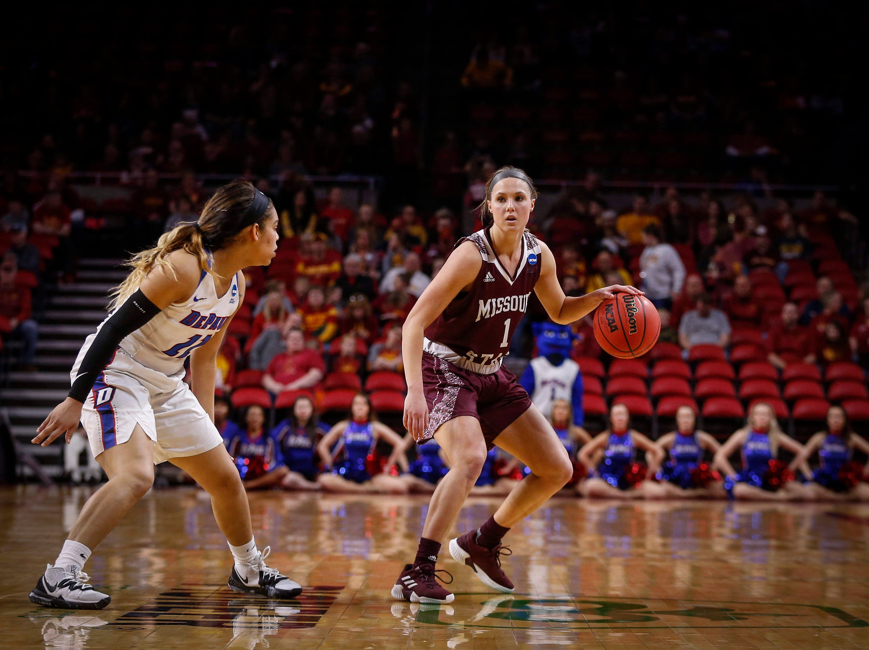 Missouri State senior Danielle Gitzen moves the ball upcourt against DePaul on Saturday, March 23, 2019, at Hilton Coliseum in Ames.