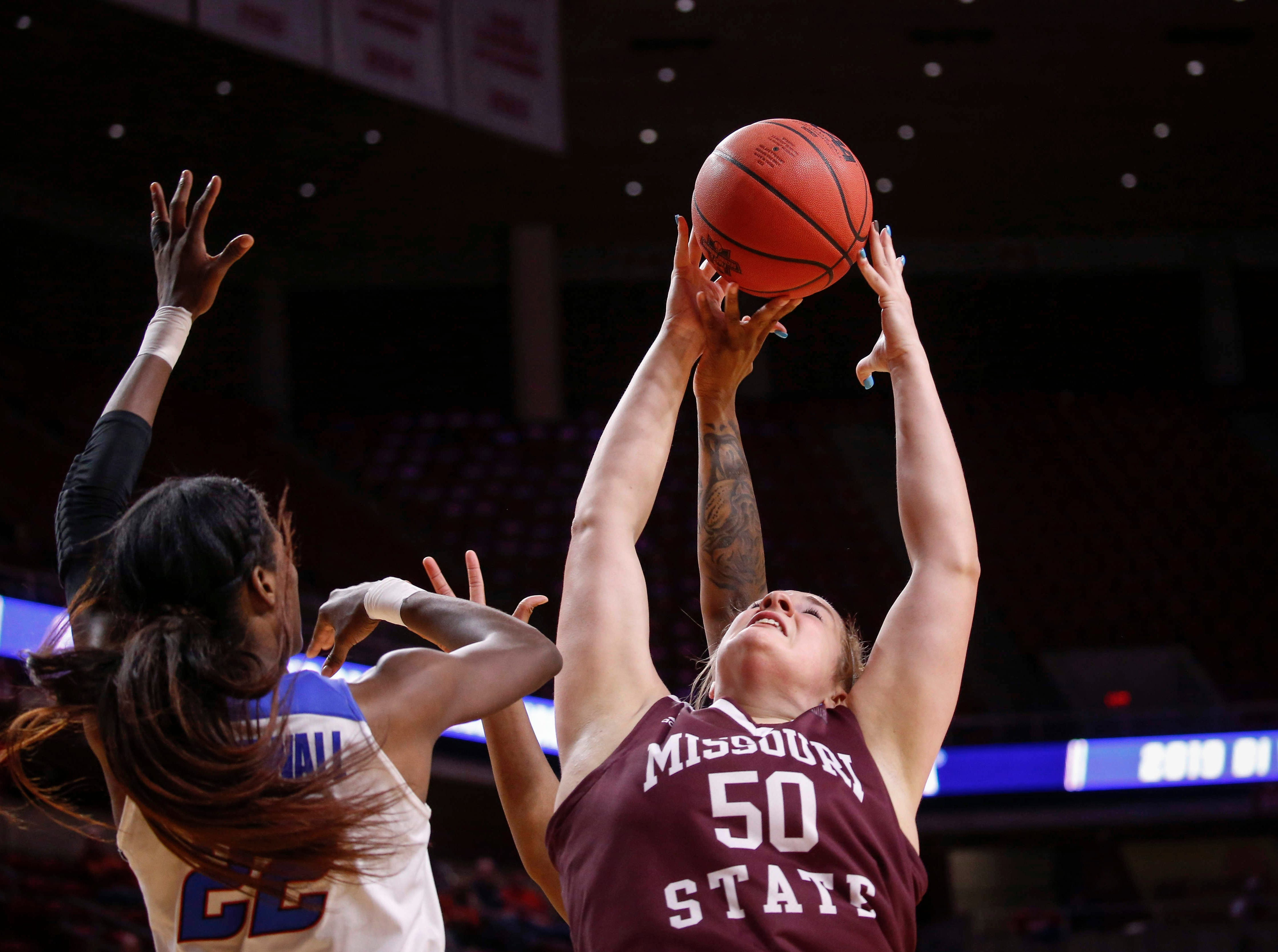 Missouri State sophomore Emily Gartner pulls down a rebound against DePaul on Saturday, March 23, 2019, at Hilton Coliseum in Ames.
