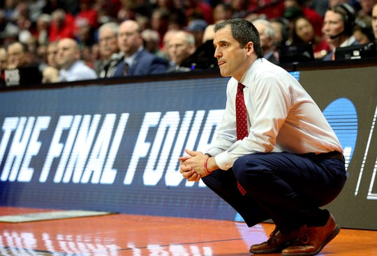 Mar 22, 2019; Tulsa, OK, USA; Iowa State Cyclones head coach Steve Prohm looks on during the first half against the Ohio State Buckeyes in the first round of the 2019 NCAA Tournament at BOK Center.