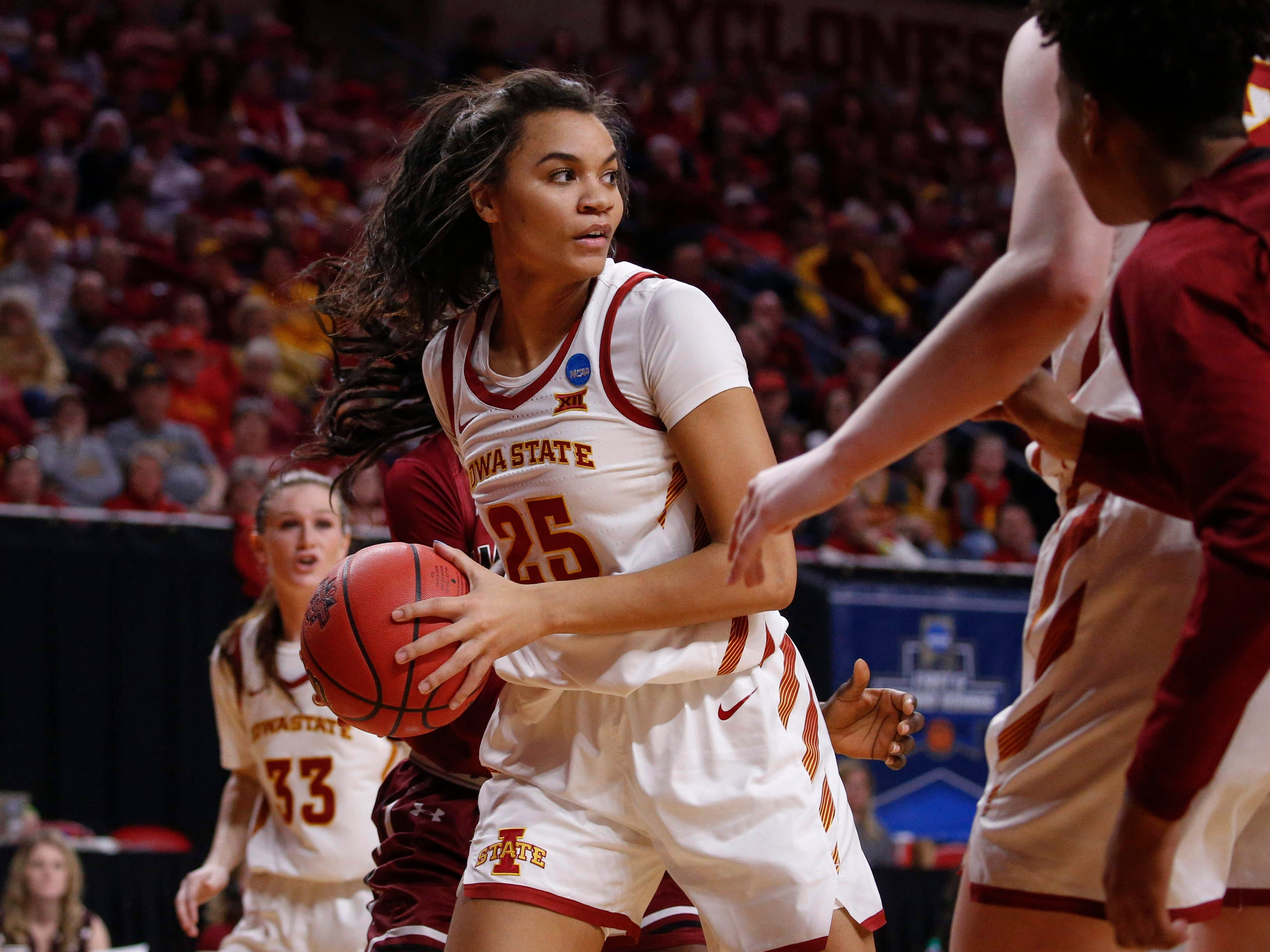 Iowa State sophomore Kristin Scott pulls in a rebound against New Mexico State on Saturday, March 23, 2019, at Hilton Coliseum in Ames.