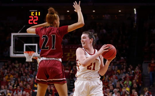 Iowa State senior Bridget Carleton looks for an open teammate against New Mexico State on Saturday, March 23, 2019, at Hilton Coliseum in Ames.