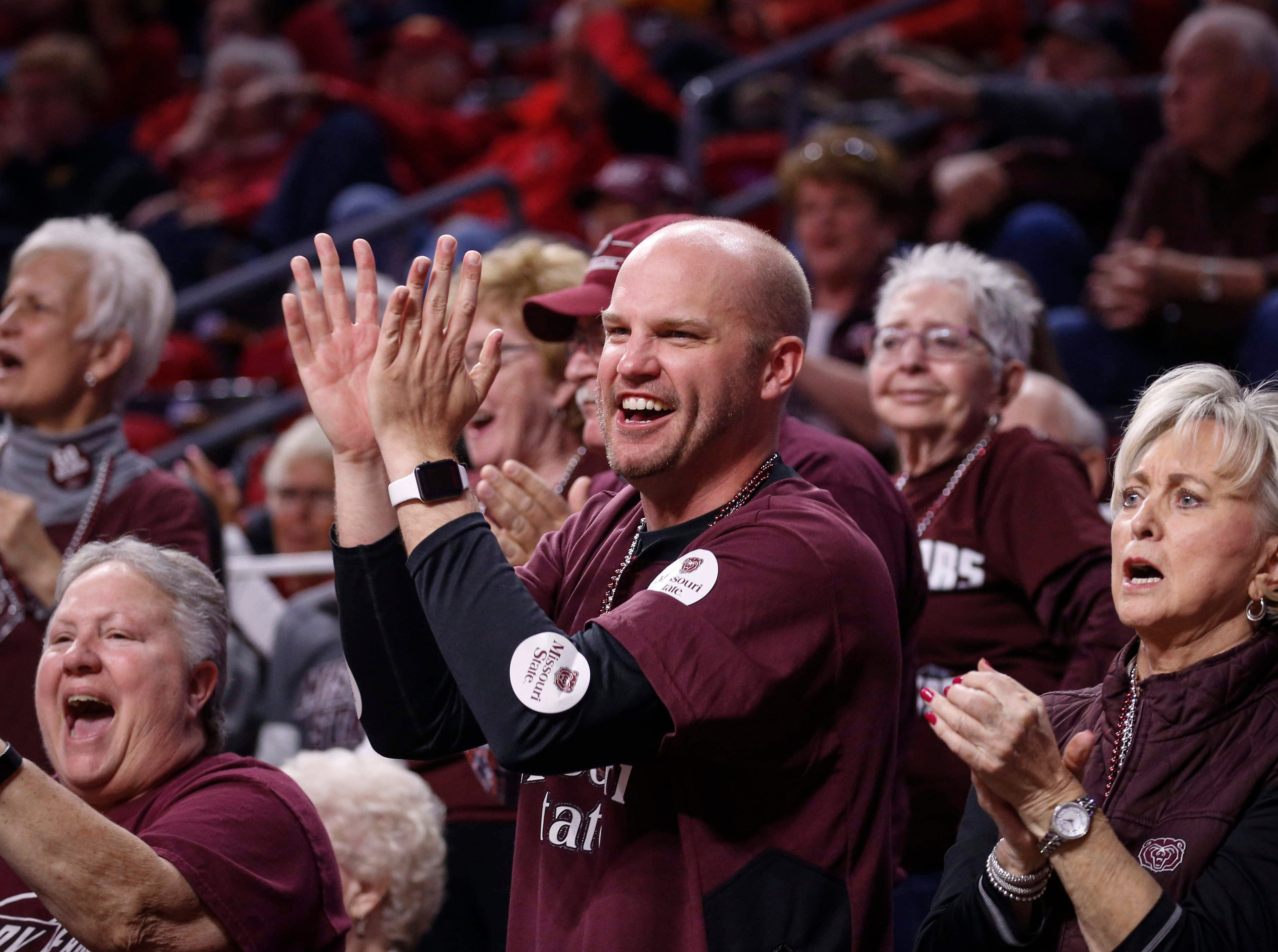 Missouri State fans cheer during the second quarter against DePaul on Saturday, March 23, 2019, at Hilton Coliseum in Ames.