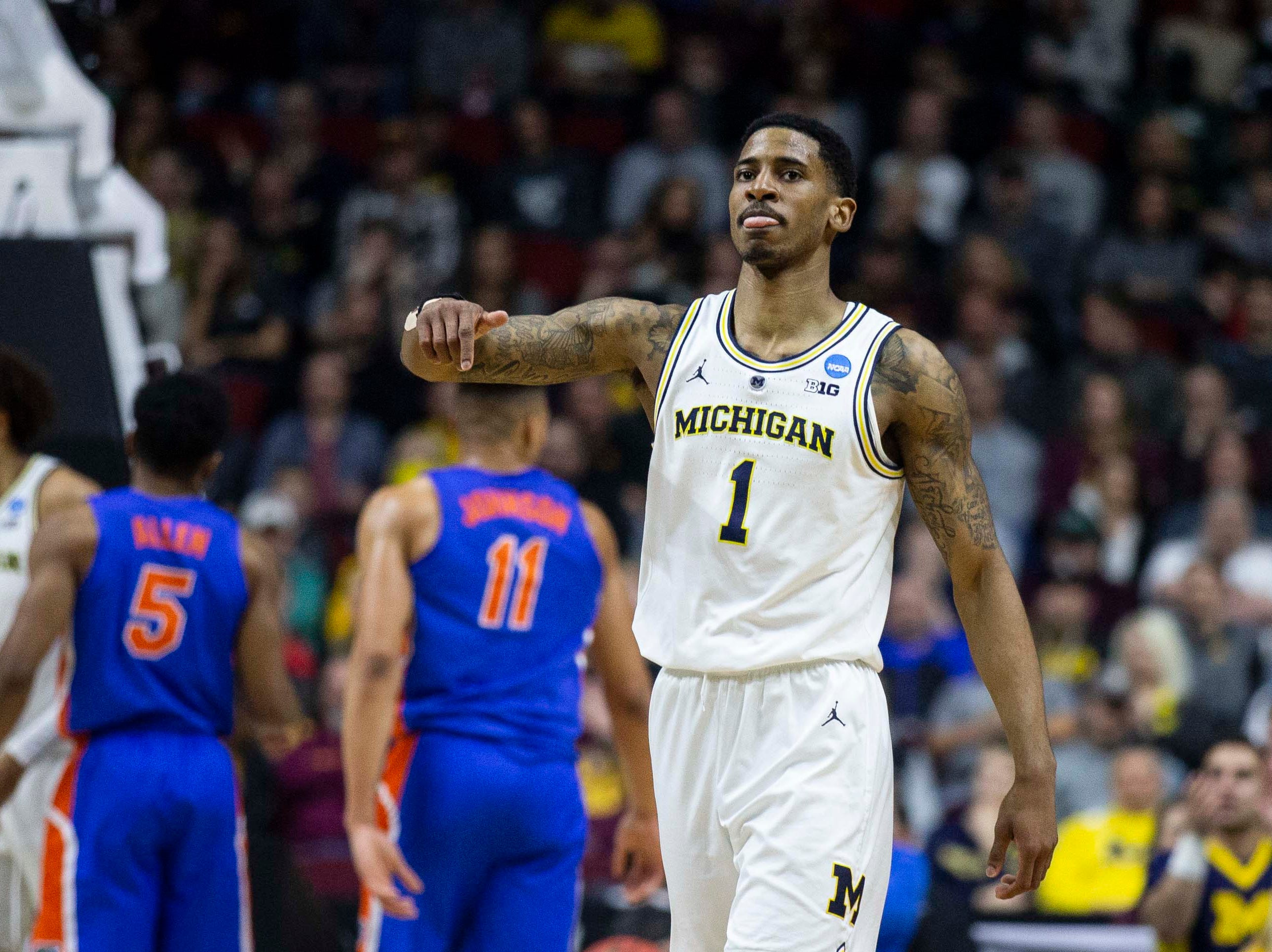 Michigan's Charles Matthews after a call goes his team's way during the NCAA Tournament second-round match-up between Michigan and Florida on Saturday, March 23, 2019, in Wells Fargo Arena in Des Moines, Iowa.