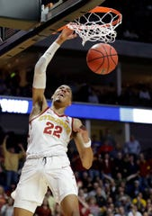 Iowa State's Tyrese Haliburton (22) dunks during the first half of a first round men's college basketball game against Ohio State in the NCAA Tournament Friday, March 22, 2019, in Tulsa, Okla.