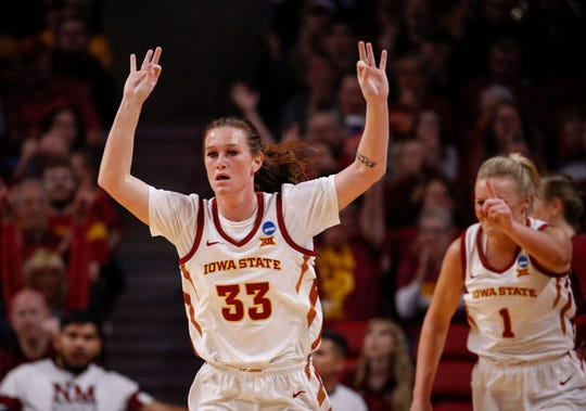 Iowa State senior Alexa Middleton holds up three fingers after hitting a three-point field goal against New Mexico State on Saturday, March 23, 2019, at Hilton Coliseum in Ames.
