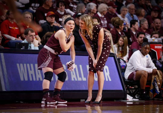 Missouri State women's head basketball coach Kellie Harper talks with sophomore guard Elle Ruffridge in the first quarter against DePaul on Saturday, March 23, 2019, at Hilton Coliseum in Ames.