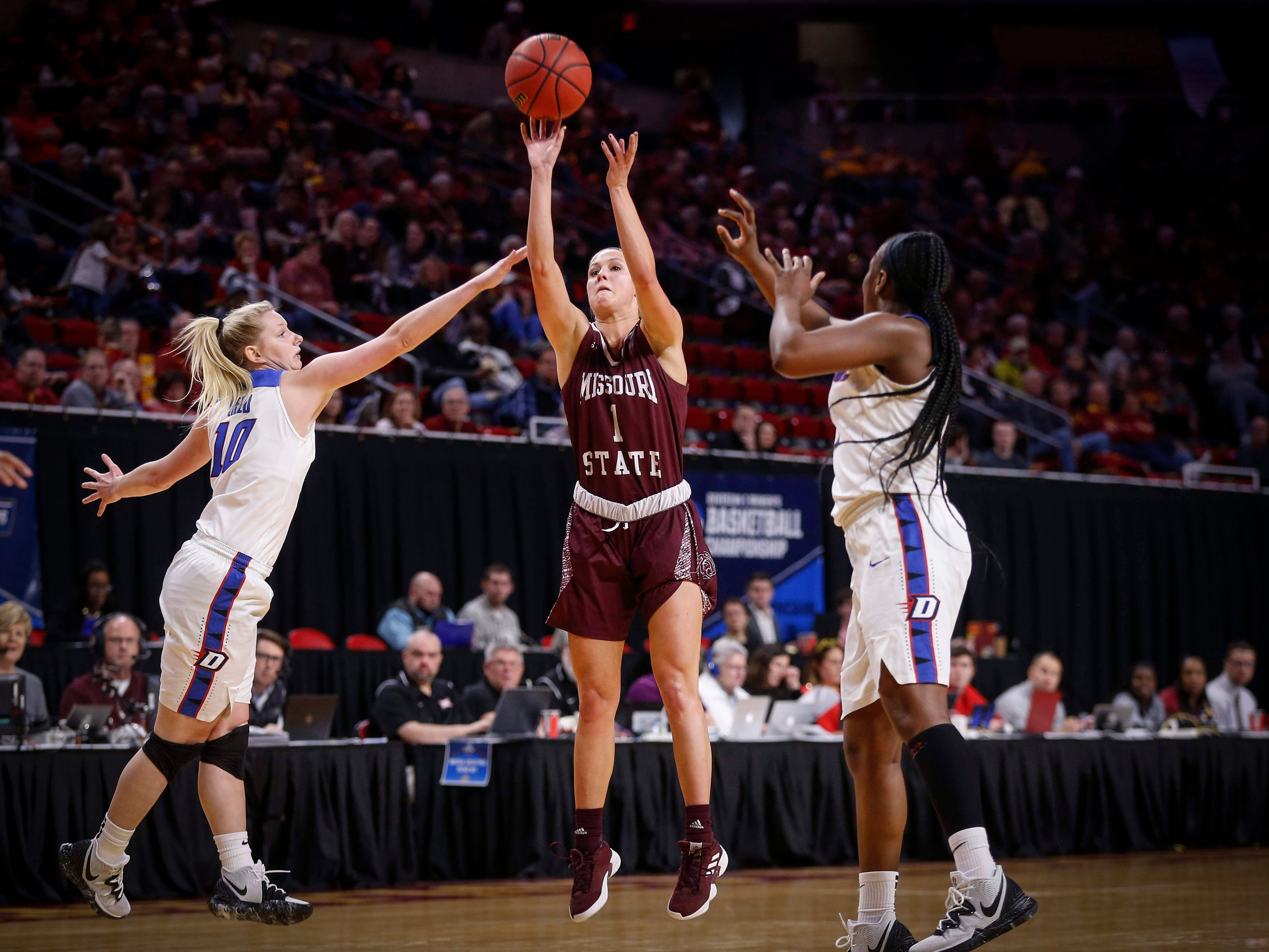 Missouri State senior Danielle Gitzen fires a three-point field goal against DePaul on Saturday, March 23, 2019, at Hilton Coliseum in Ames.