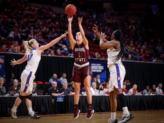 Missouri State senior Danielle Gitzen fires a three-point field goal against DePaul on Saturday.