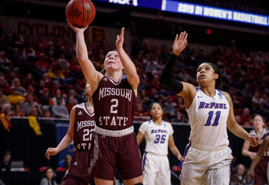 Missouri State sophomore Elle Ruffridge scores an easy basket under the hoop against DePaul on Saturday, March 23, 2019, at Hilton Coliseum in Ames.